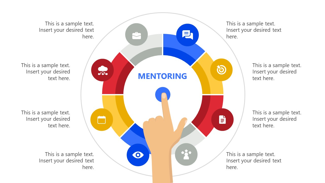 PowerPoint Diagram of 6 Steps Mentoring