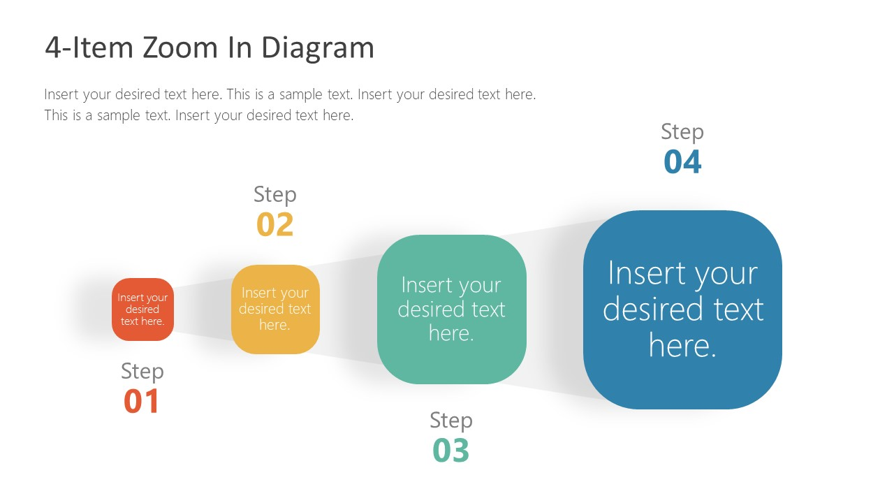 4 Steps PowerPoint Zoom Diagram Design