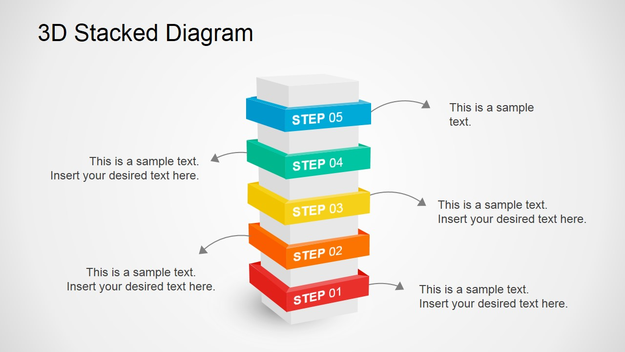 3d stacked diagram for powerpoint slidemodel for What is a template in powerpoint