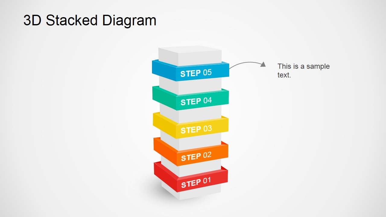 Multi-Steps 3D Diagram Illustration For PowerPoint