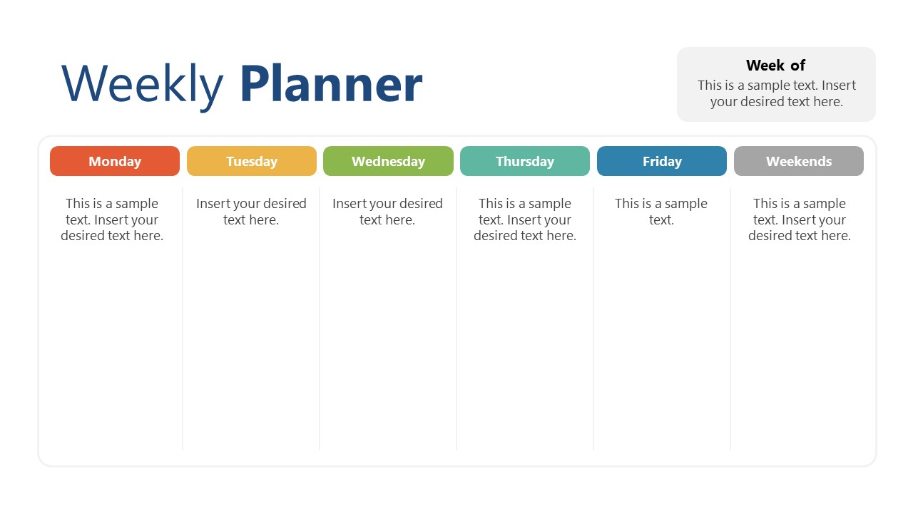 Column Layout of Weekly Planning PowerPoint