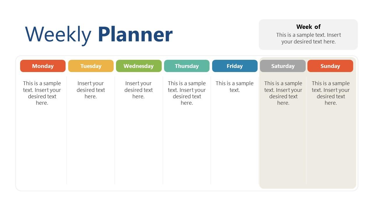 Column Layout Design of Weekly Planner