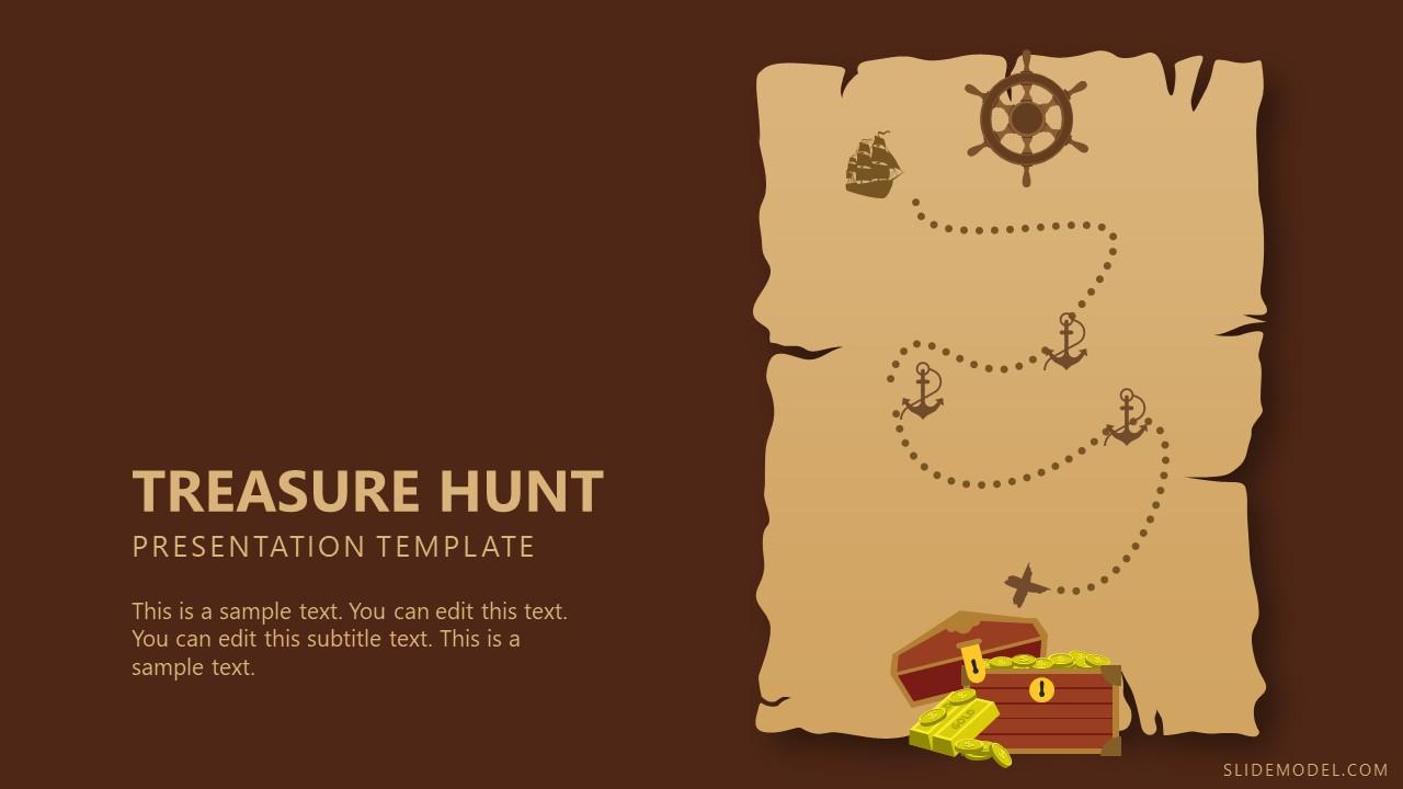 Pirate Map Template of Treasure Hunt