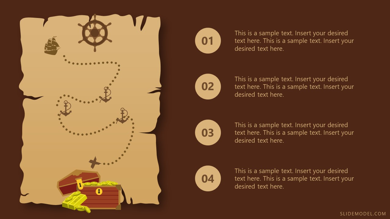 Map Template of Pirate Themed PPT