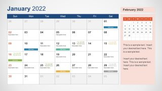 Template of January 2022 Calendar