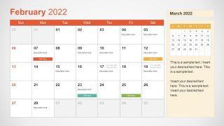 Template of February 2022 Calendar