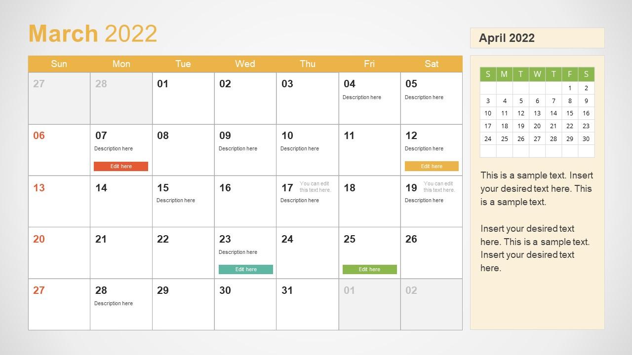 Template of March 2022 Calendar