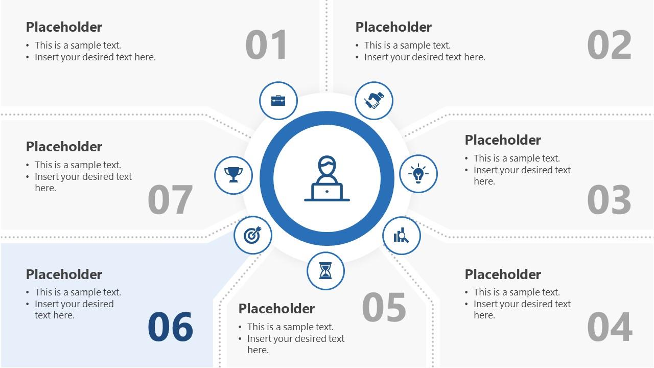 7 Segments Step 6 PowerPoint Diagram