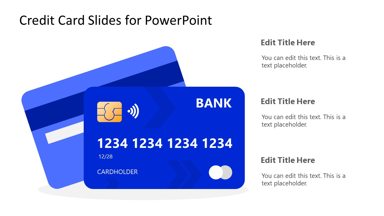 PowerPoint Shapes of Blue Credit Card