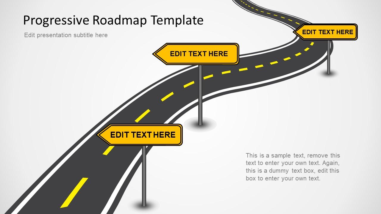 progressive roadmap powerpoint template slidemodel