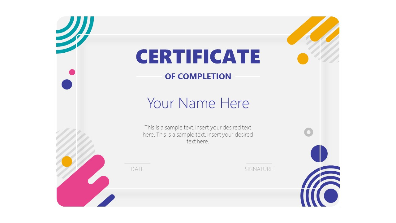 Editable Presentation for Certificate of Completion