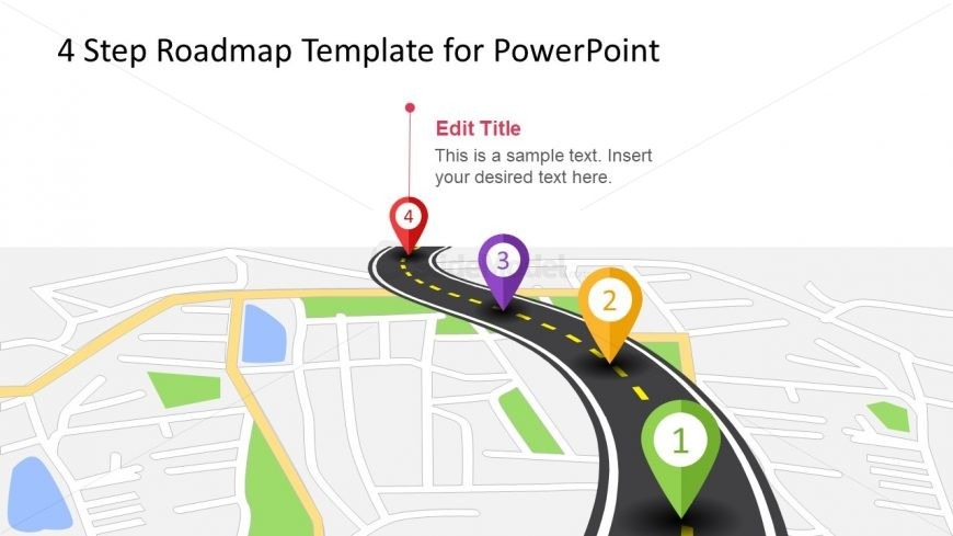 Roadmap 4 Steps Design PPT