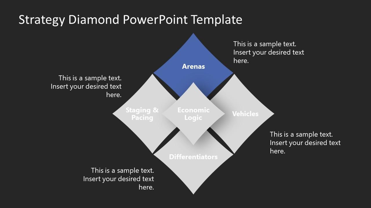 PowerPoint Strategy Diamond Concept Diagram