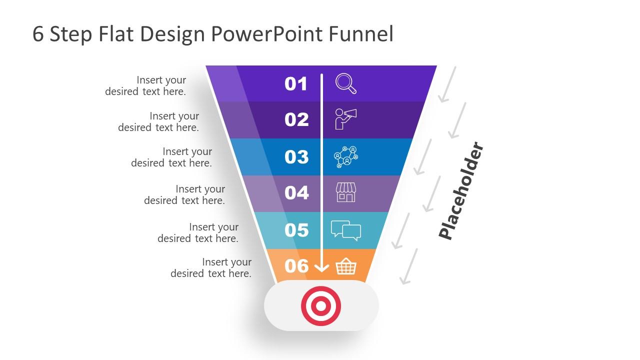 Flat Design Funnel Chart Template PPT