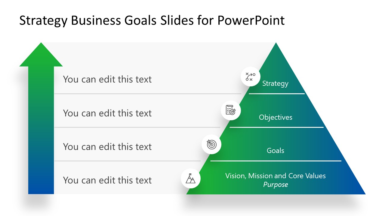 Pyramid Diagram for Business Strategies and Plans