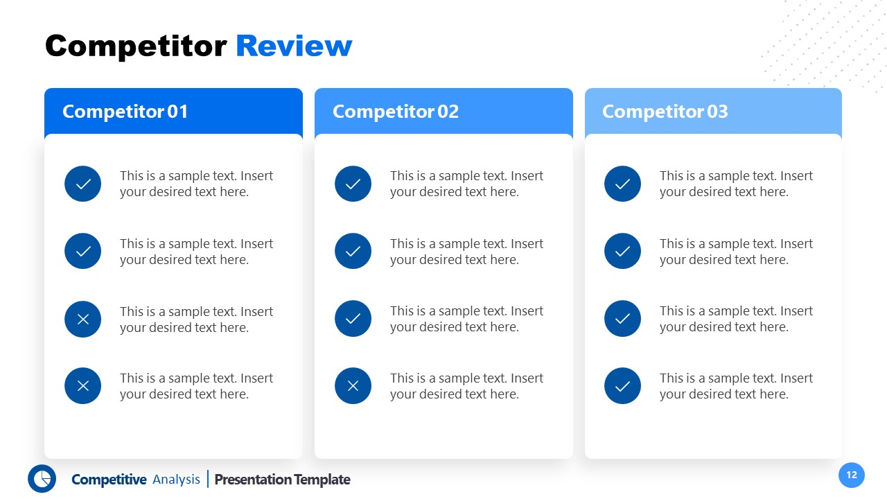 Template of Competitors Review 3 Segments