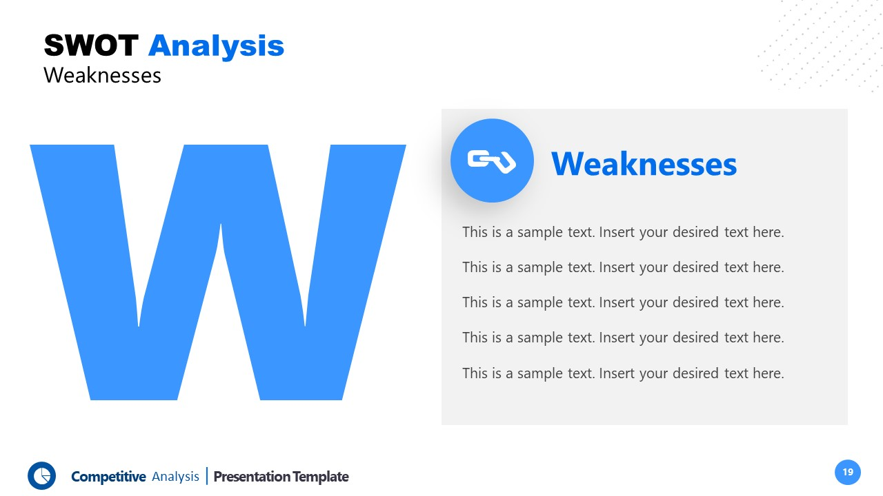 PowerPoint Weaknesses Template Competitors Analysis
