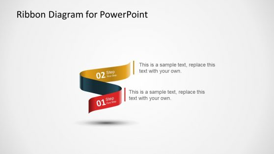 2 Step PowerPoint Diagram of Ribbons