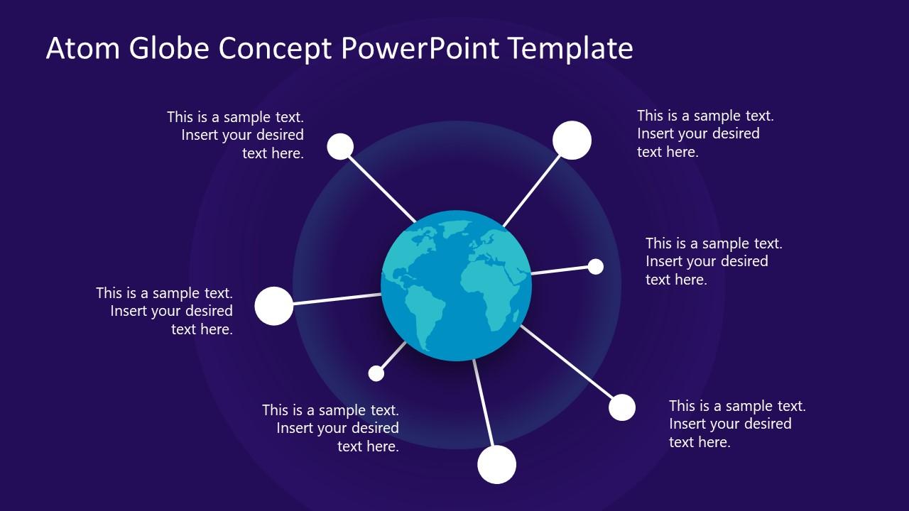Hub Spoke PowerPoint Atom Globe Diagram