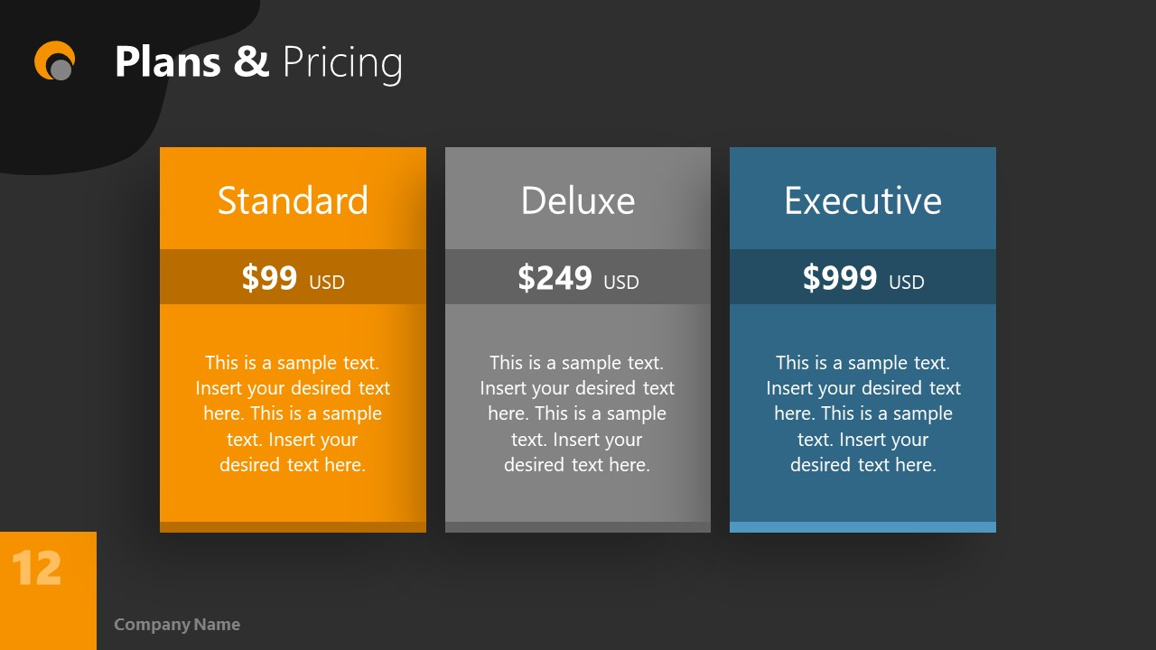 Dark PowerPoint Theme for Price Plan Slide