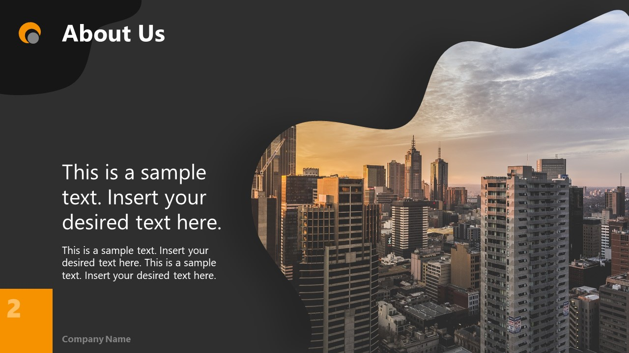 Dark PowerPoint Theme for About Us Slide