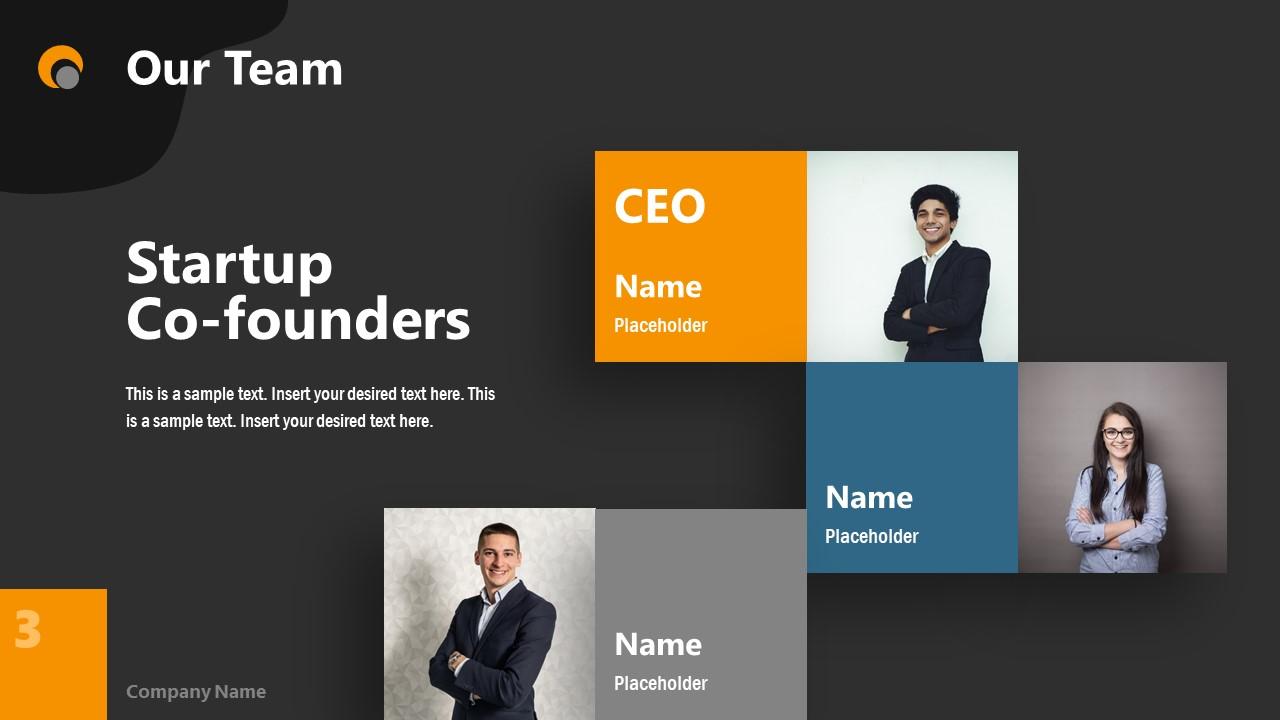 Dark PowerPoint Theme for Our Team Slide