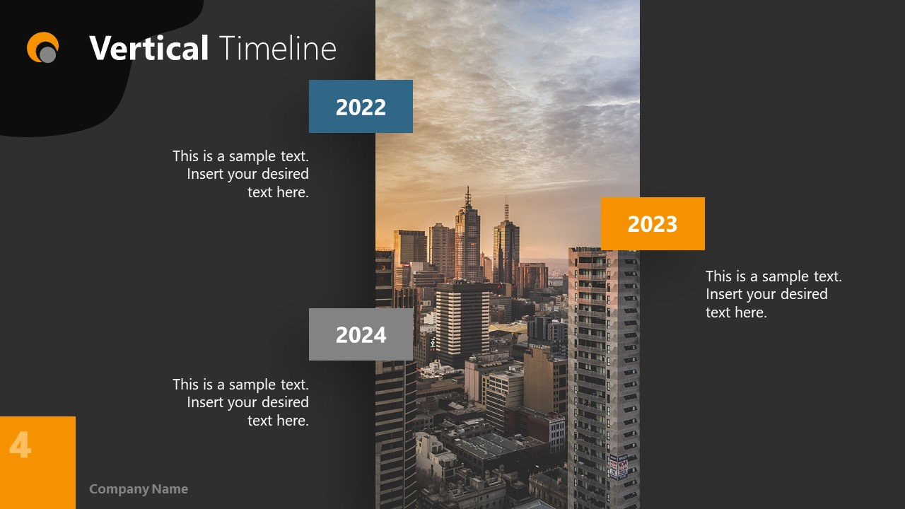 Dark PowerPoint Theme for Timeline Slide