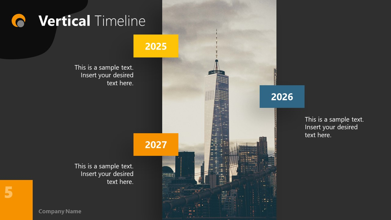 Dark PowerPoint Theme for Vertical Timeline Slide