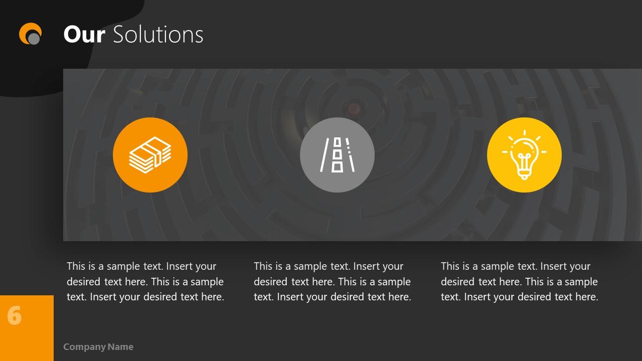 Dark PowerPoint Theme for Solutions Slide