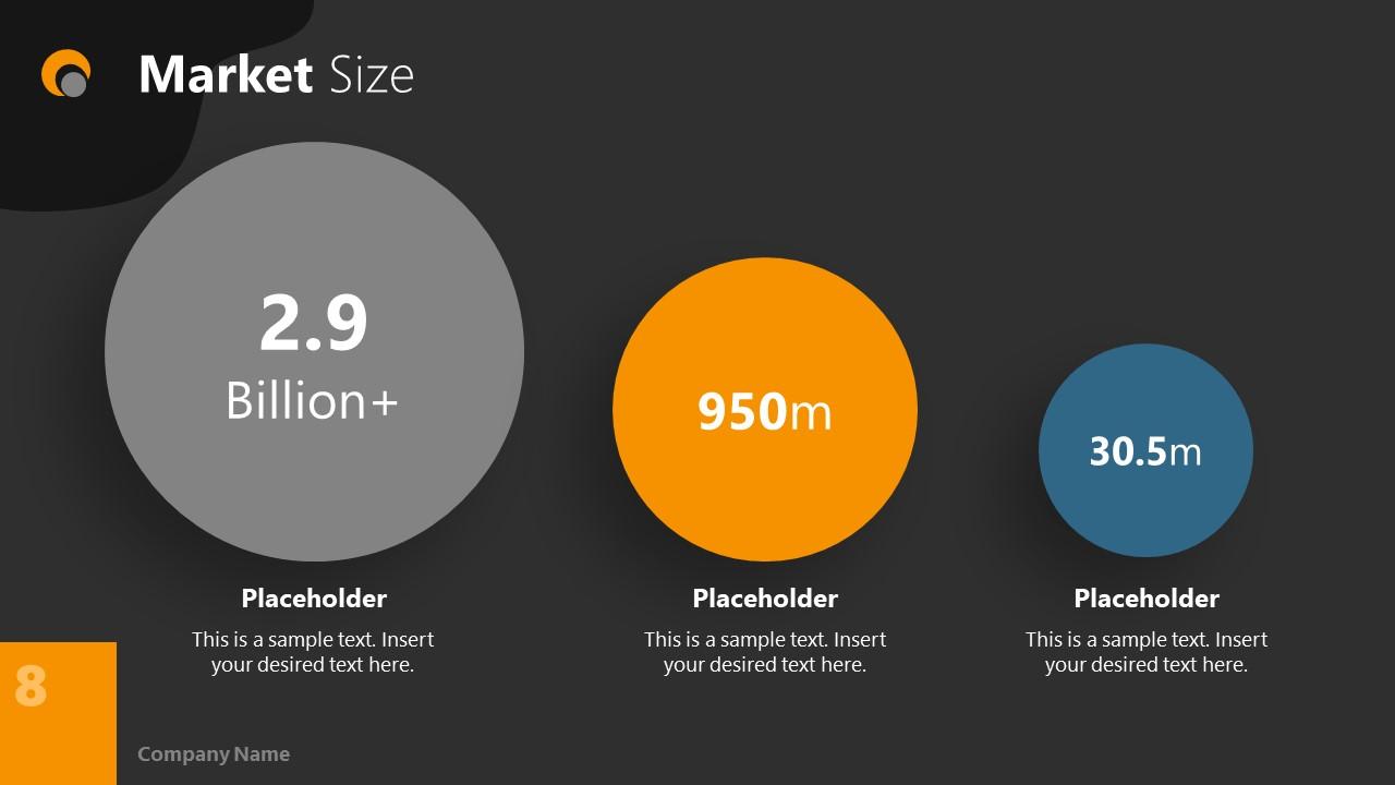 Dark PowerPoint Theme for Market Size Slide