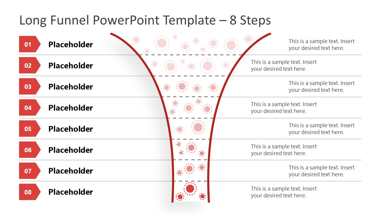 Funnel Diagram 8 Steps PowerPoint Template