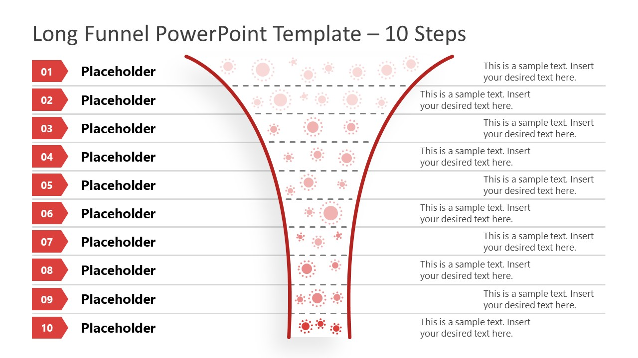 Funnel Diagram 10 Steps PowerPoint Template