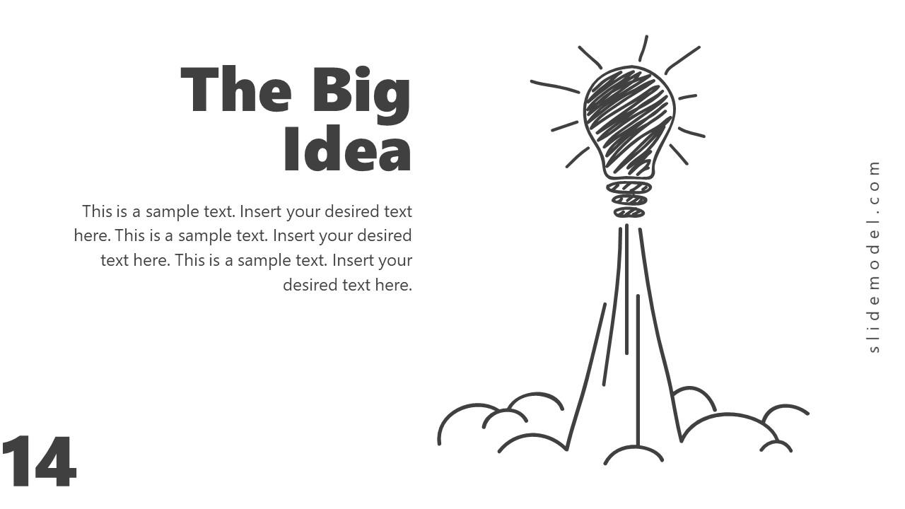 Business Launch Big Idea Rocket Shape PPT