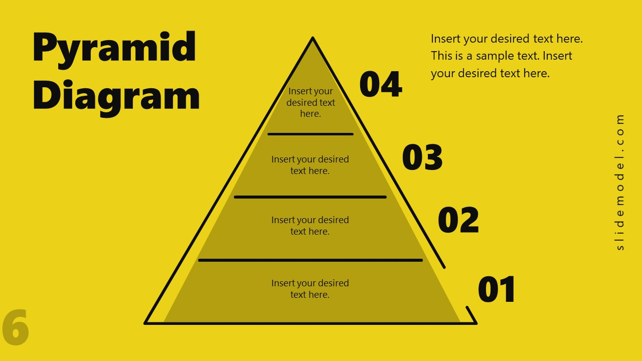 4 Level Pyramid Diagram Template PPT