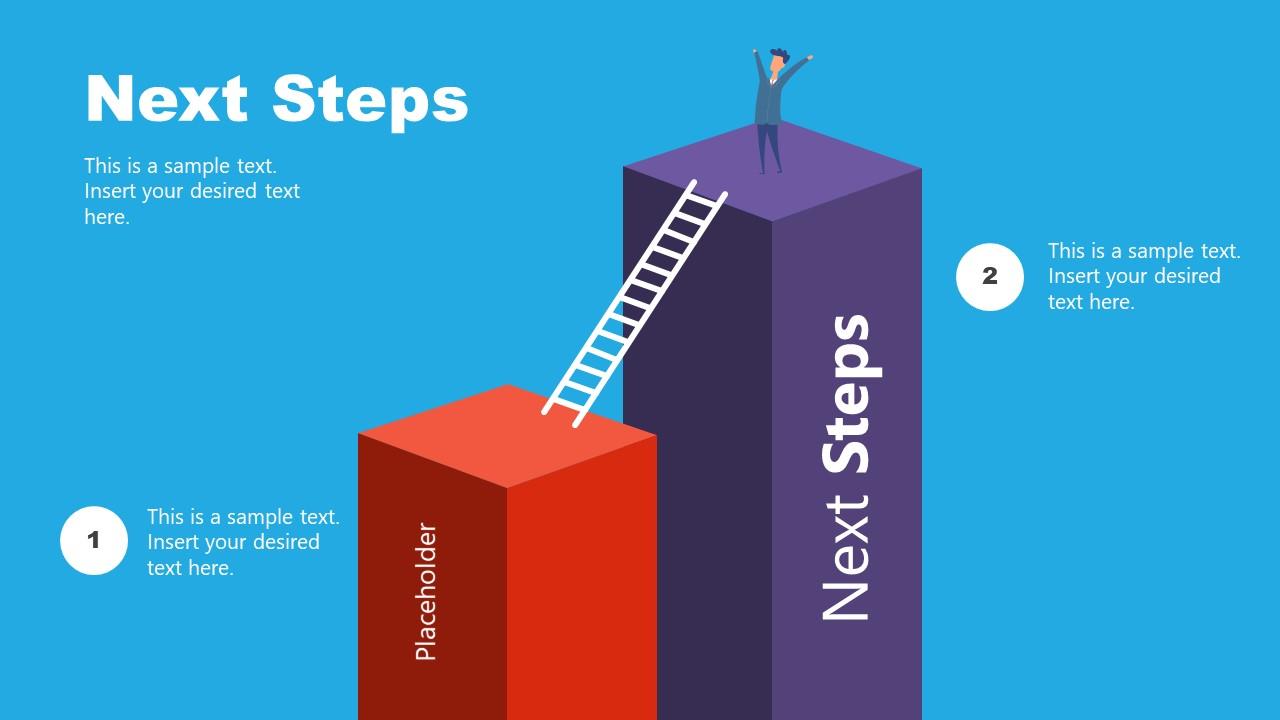 2 Steps 3D Block Ladder Diagram for Next Steps