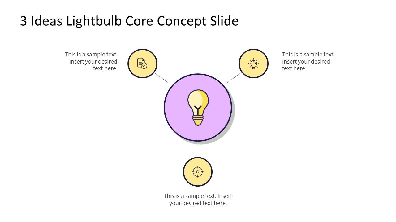 PowerPoint 3 Steps Diagram Lightbulb Ideas