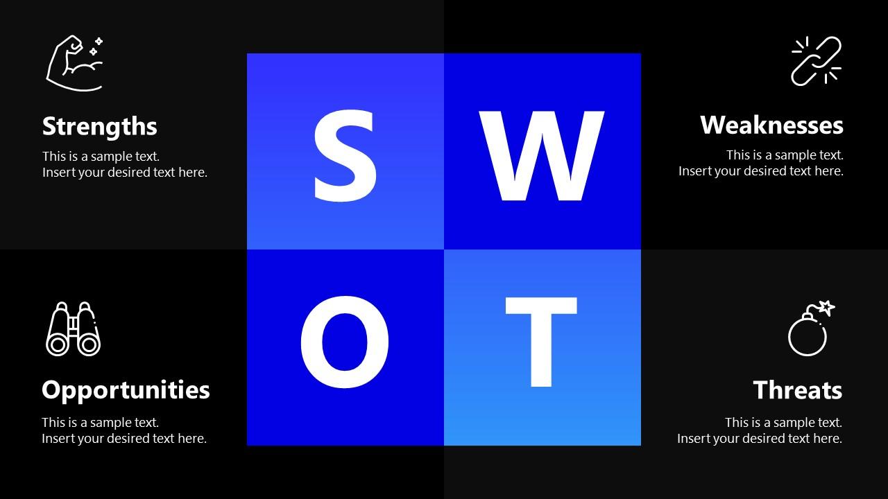 PowerPoint SWOT Slide Spectrum Design