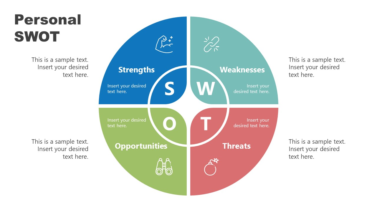 4 Steps PowerPoint Diagram of SWOT