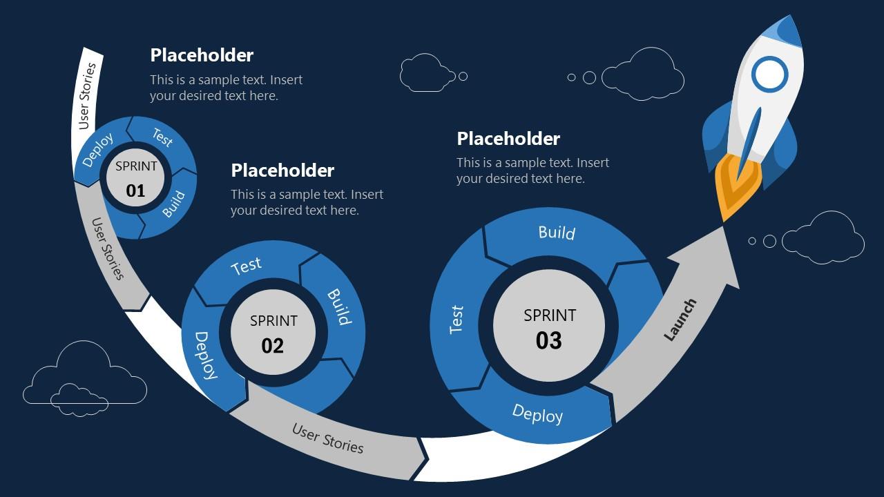 PowerPoint Blue Theme 3 Sprint Rocket