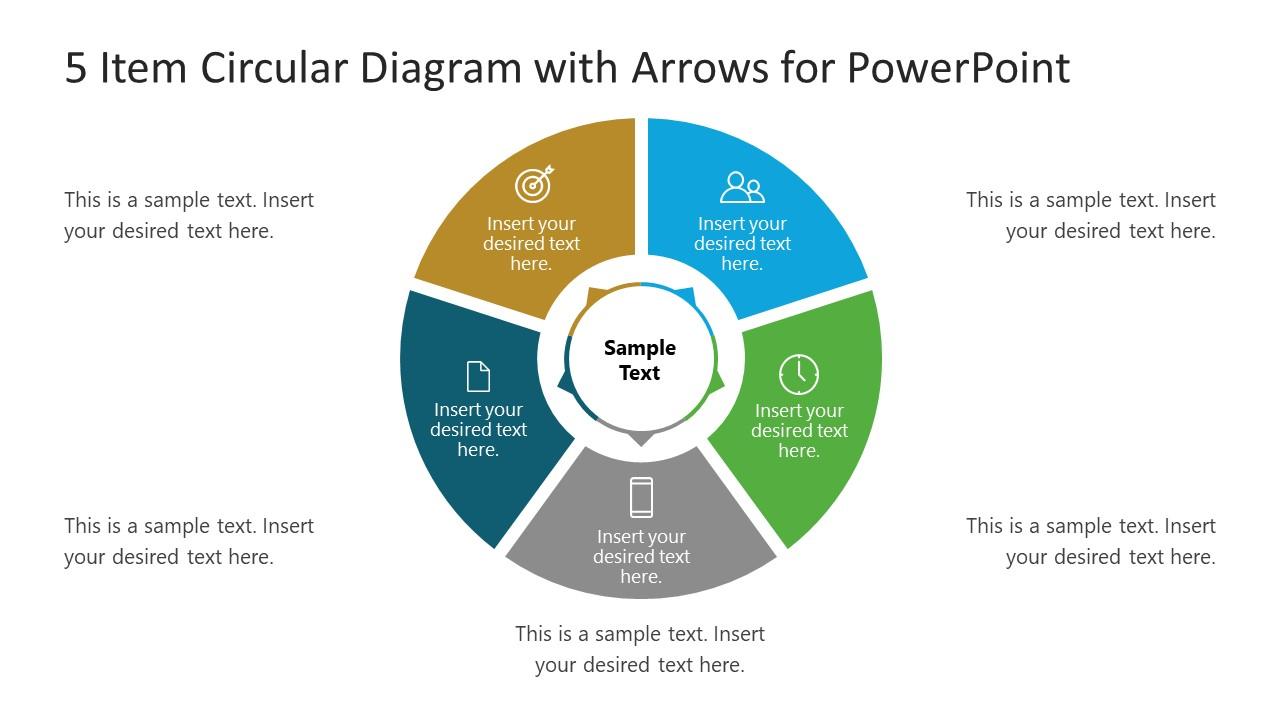 PPT 5 Items Template of Circular Diagram