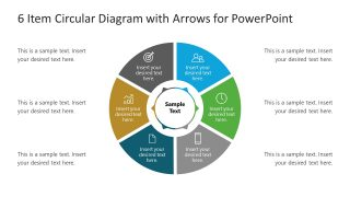 Arrows Circular Diagram 6 Items Template
