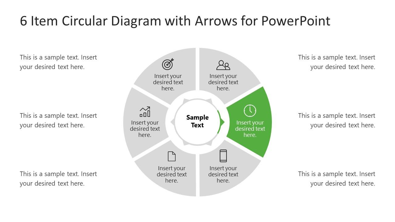 6 Steps Arrow 2 Circular PowerPoint Diagram