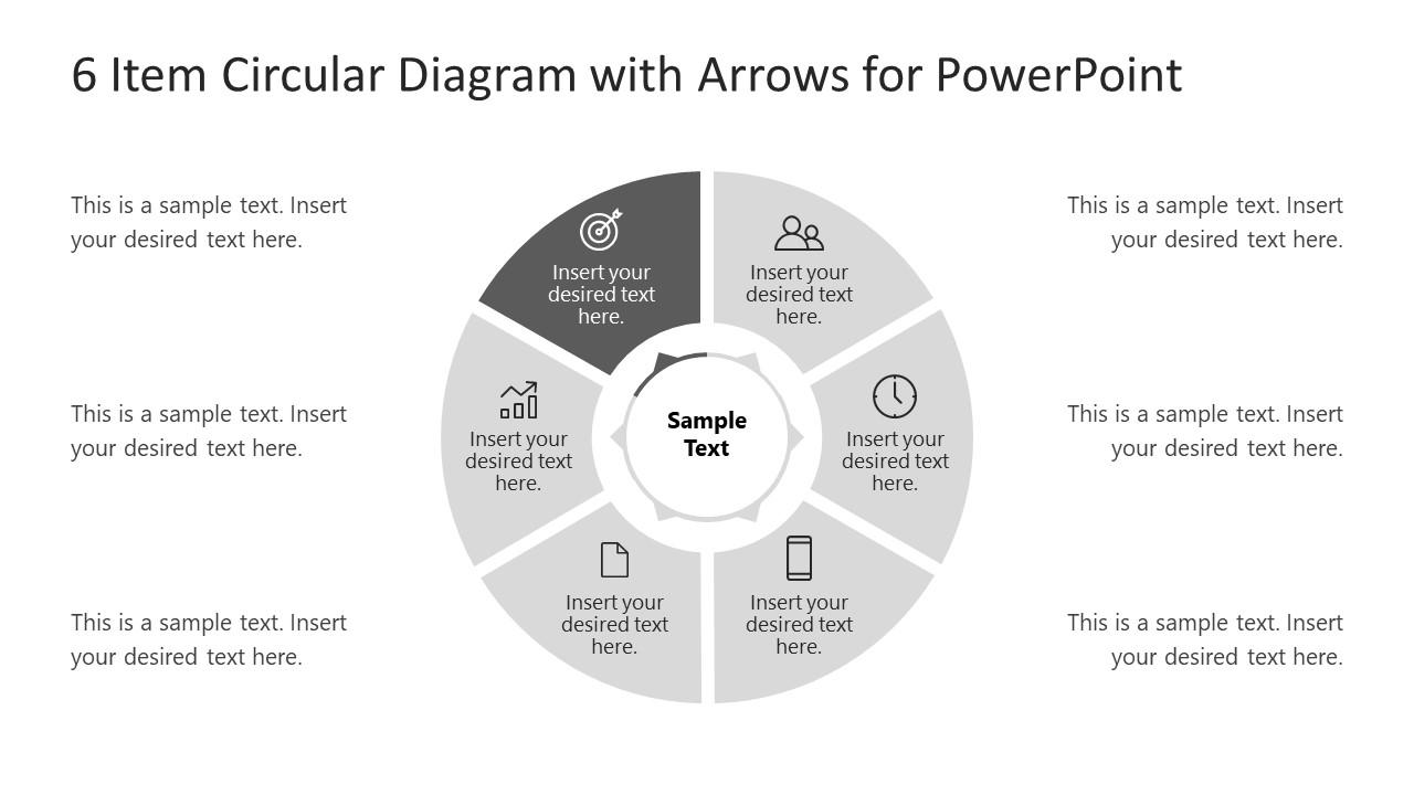6 Steps Arrow 6 Circular PowerPoint Diagram