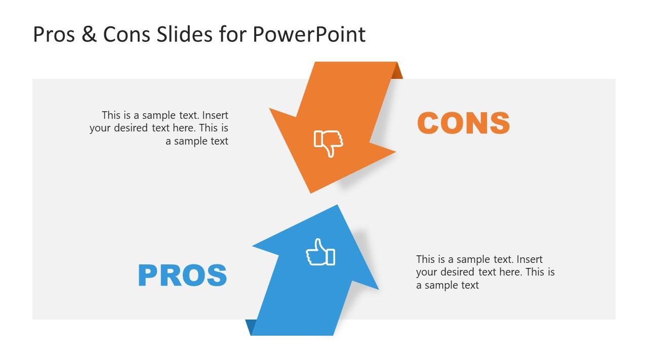 Presentation of Pros Versus Cons Arrows