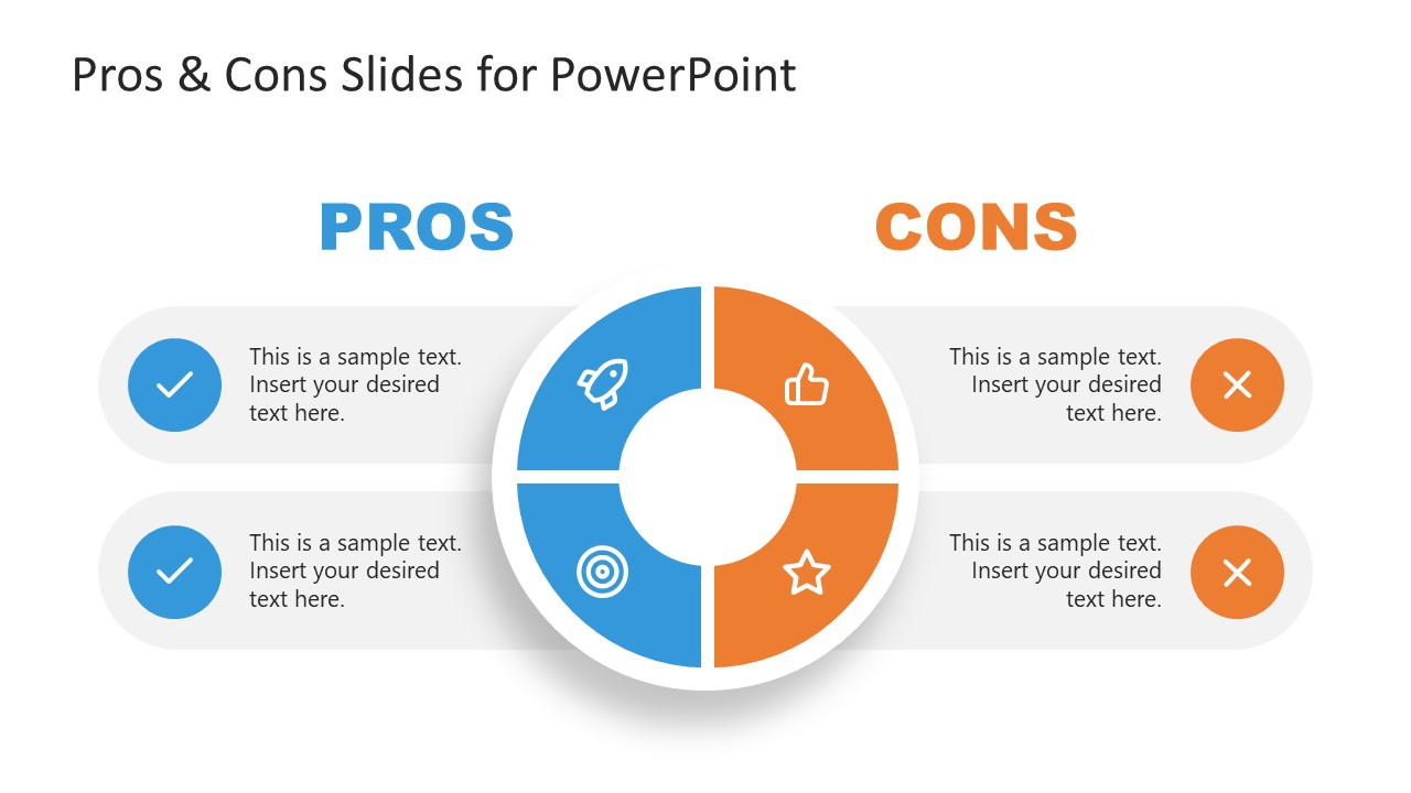 Editable 4 Steps Circular Diagram for Pros and Cons