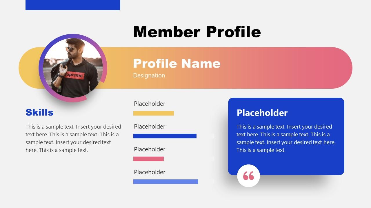Profile of Team member Slide Design