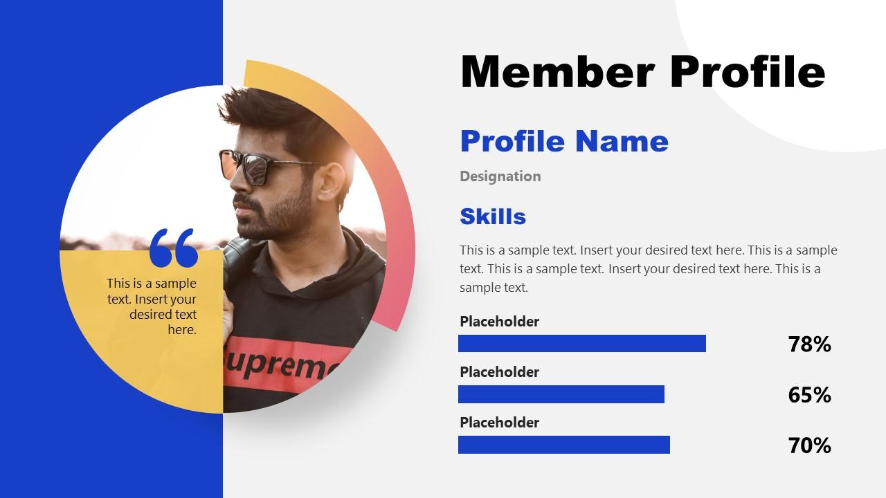 Presentation Slide for Team Member Profile