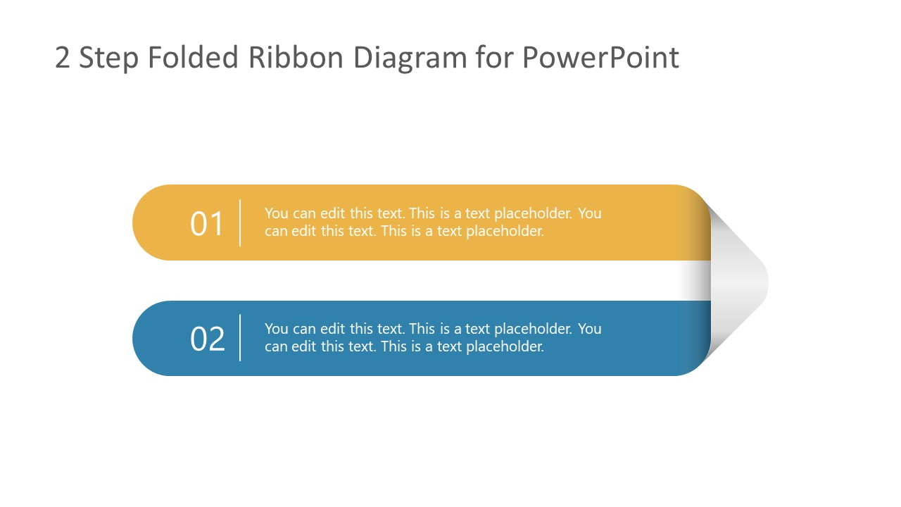 2 Steps Folded Ribbon Template Diagram