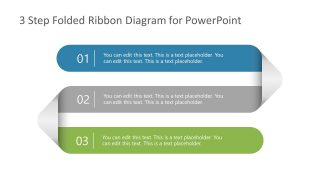 3 Steps Folded Ribbon Template Diagram