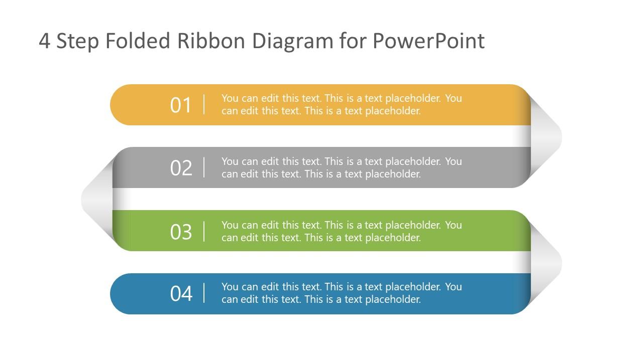 4 Steps Folded Ribbon Template Diagram